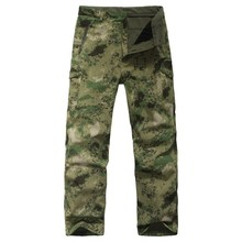 TAD Waterproof SoftShell Camouflage Pants Outdoors Army Shark Skin Men's Sports Thermal Military Camo Hunting Fleece Trousers(China (Mainland))