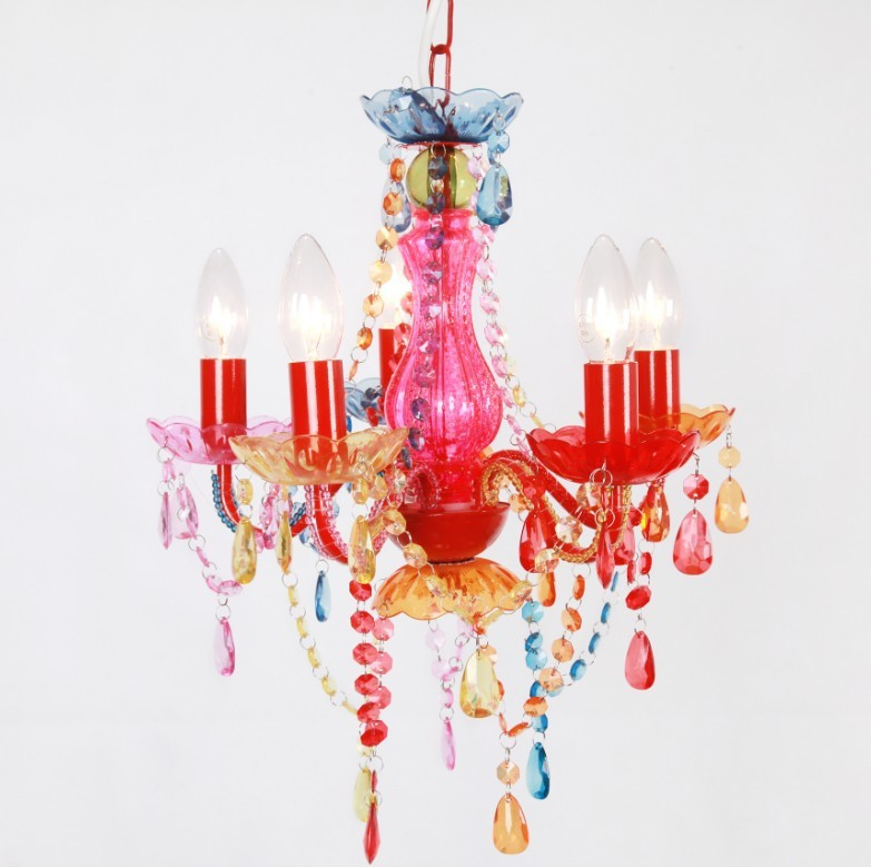 Child Chandelier 4 Arm In White With Pink