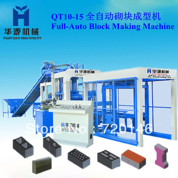 QT10-15 high capacity and low cost concrete block production line soil block making machine