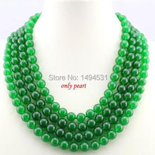 Wholesale Pearl Jewelry 17-20 Inches 10mm Green Jade Necklace 4 Rows Jade Jewelry - Handmade - XZN81(China (Mainland))