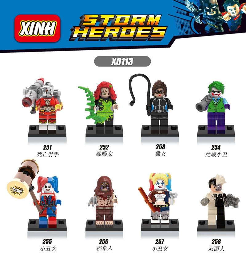 X0113 Marvel Superheroes Joker Deadshot Catwoman Harley Quinn Scarecrow Two-Face Minifigures Building Blocks Compatible Legoes - COASTLINE TOY store