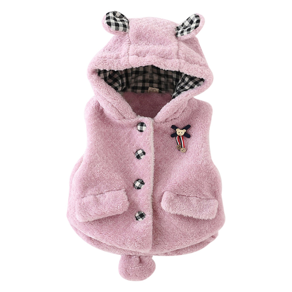 Baby Infant Coats for Girls Cute Hooded Winter Thick Warm Waistcoat Girl Jacket Tops Clothes Outerwear