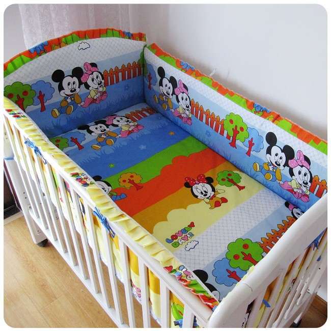 Promotion! 6PCS cartoon mickey minnie mouse environment-friendly printing baby crib bedding set (bumpers+sheet+pillow cover)<br><br>Aliexpress