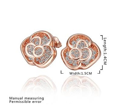 Round Flower Bijoux 18k Rose Gold/Platinum Plate Engagement Party Jewelry Swiss Cubic Zirconia Color Optional SCE148(China (Mainland))
