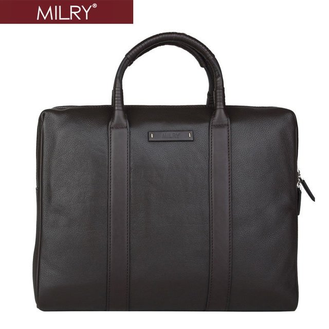 Free Shipping MILRY  Genuine Leather Men Briefcase for 14 inch Laptop business Messenger Bag Chocolate P0007-2