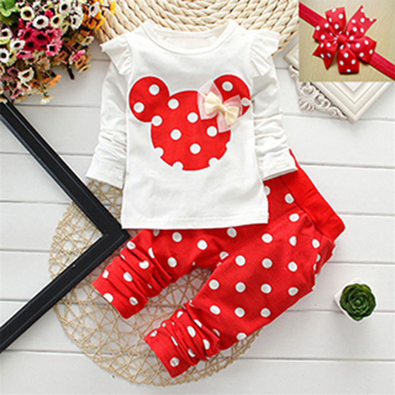 Fashion 2017 Baby Set Dot Cotton Baby Girl Clothes Spring Kids Clothing Set Girl (Pants+T-shirt) For Baby Suit Mutli-Colors(China (Mainland))