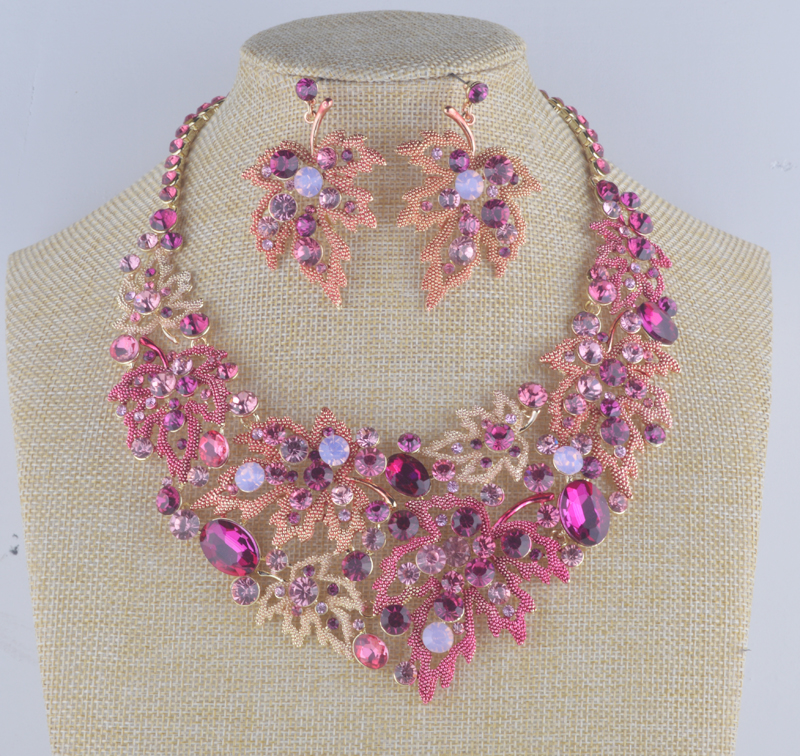 Trendy wedding necklace sets pink maple leaf color for Pink wedding jewelry sets