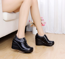 Cowhide genuine leather platform spring and autumn deep mouth single shoes high-heeled platform women's shoes wedges(China (Mainland))