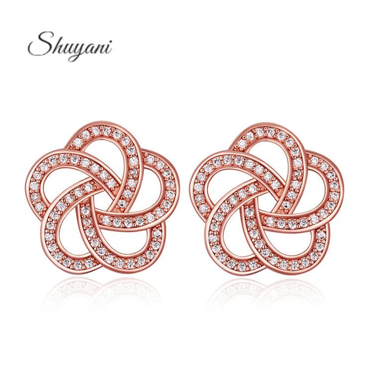 Shuyani Jewelry 2016 New Flower Earrings 18K Rose Gold Plate Cubic Zircon Stud Earrings For Women Bijoux Brinco Earing
