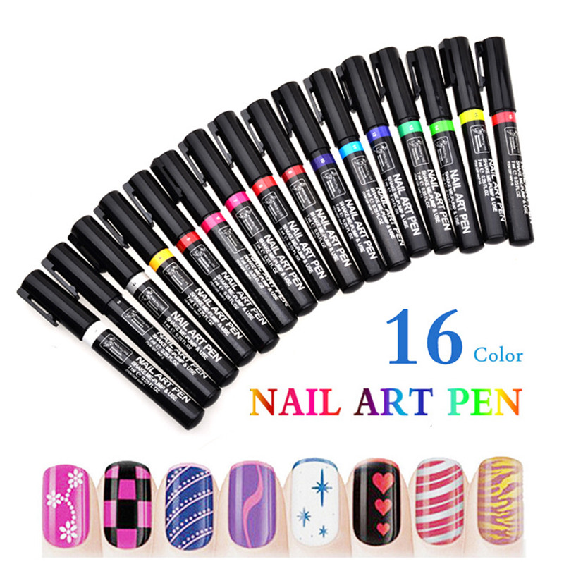 Hot 16 Colors Nail Art Pen Painting Design Nail Tools UV Gel Polish Nail Pens 3D Nail Art DIY Decoration Beauty Tools Manicure(China (Mainland))