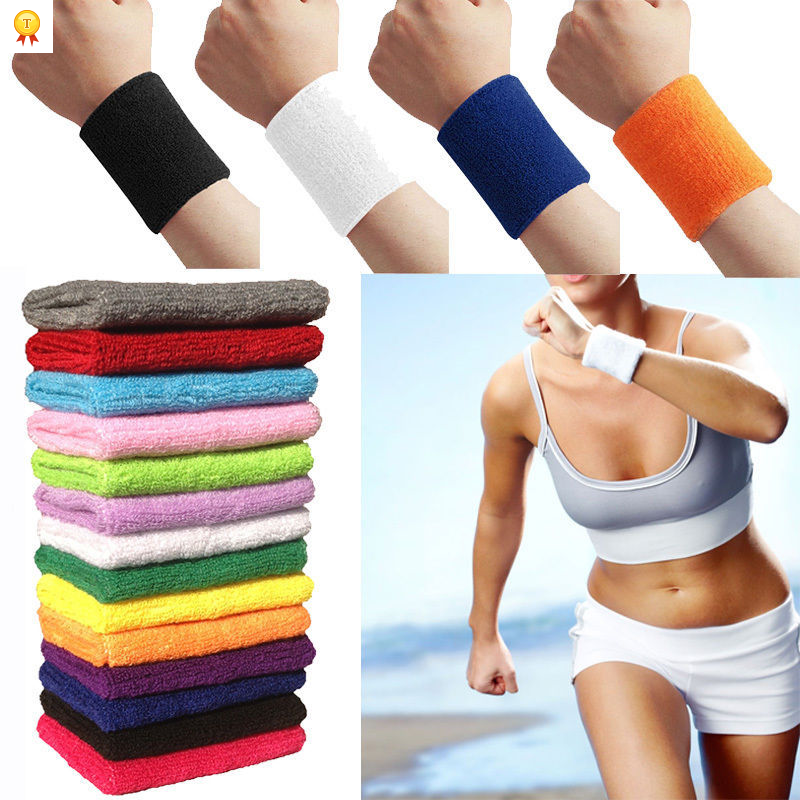 1PC High Quality Sport Equipment 12Colors Unisex Sportline Cotton Wrist Sweat Bands Terry Cloth Sweatbands(China (Mainland))