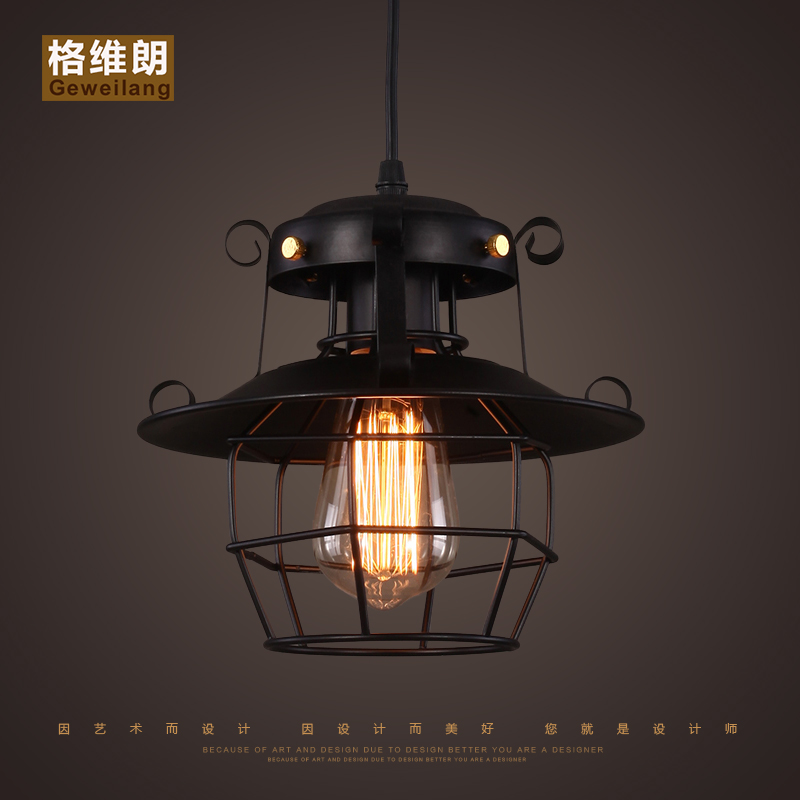 Фотография American Loft Cage Ceiling Light Cafe Bar Dinning Room Aisle Lamp Countryside