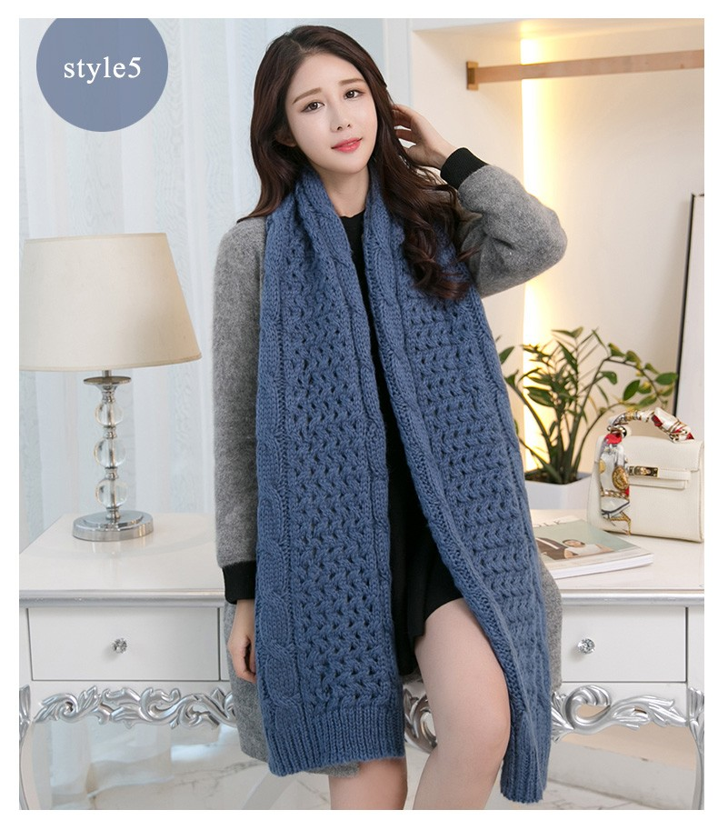 2016 Winter Women Scarf Knitting Infinity Scarves Knitted Warm Neck Circle Solid Scarf bufandas sjaals dames echarpe femme