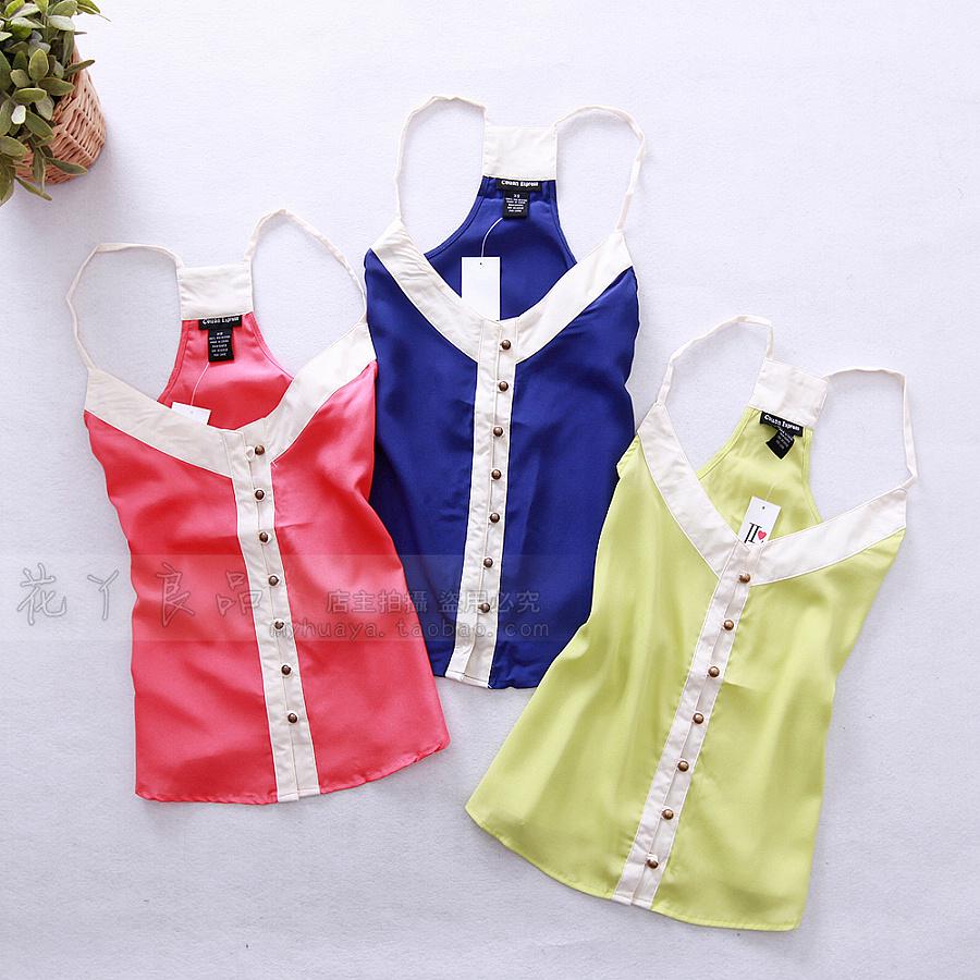 E03-03-1789 color block chiffon decoration small vest 60