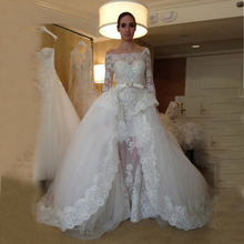 Bridal Mariage Stunning Appliques Custom Vestidos Tulle Ball Gown Wedding Dress Lace 2016 with Sleeves(China (Mainland))