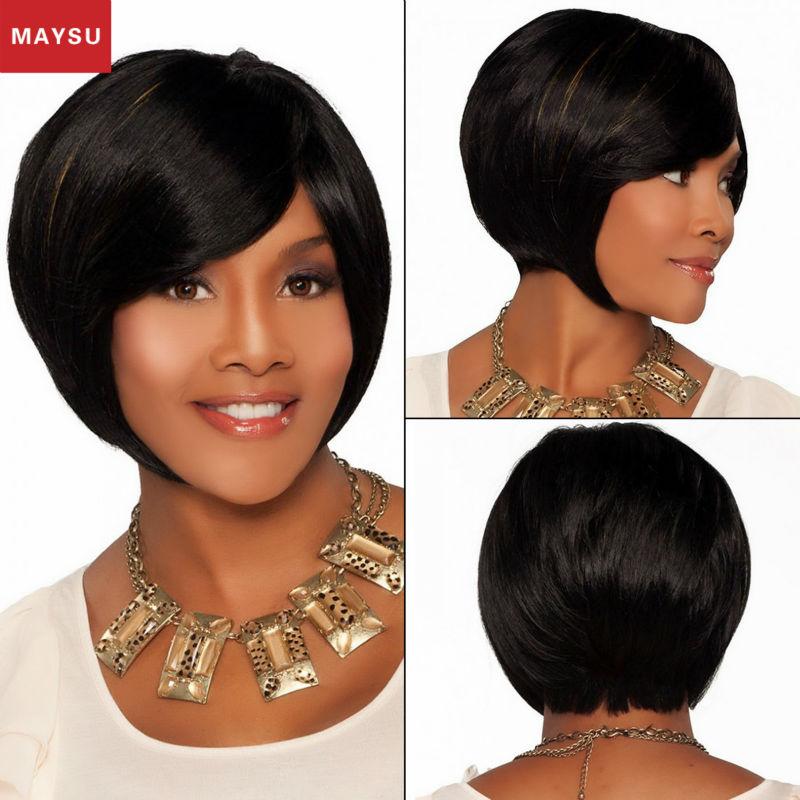 Фотография MAYSU Elegant Medium Straight Human Hair Wigs For Black Women Hand Made Mono Top Anti-microbial Cap customized 8 Colors Bob Wig