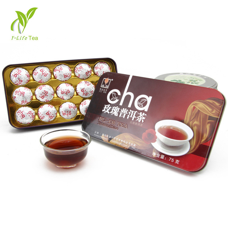 Top 15pcs Rose Flavor Puerh Tea Beauty Puer Ripe cake the teas China Health Care Food