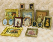 1:12 scale Lot 3pcs Dollhouse Miniature Framed Wall Paintings Home Decor Room Items Doll House 1:12 Scale Toy(China (Mainland))