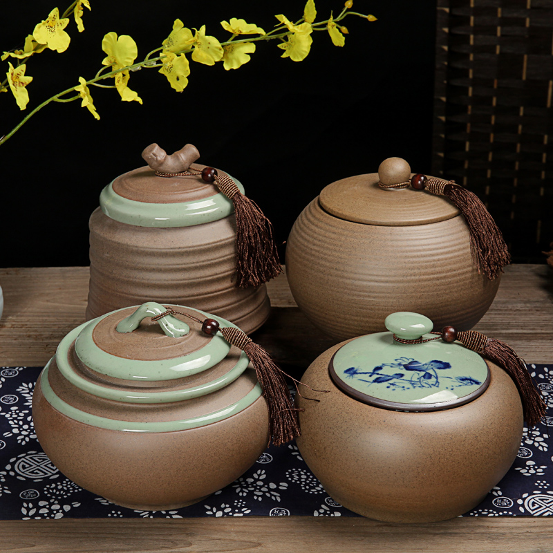 Handmade Crude Pottery Tea Caddy Ceramic Large Canister Airtight Porcelain Storage Jar Instorage