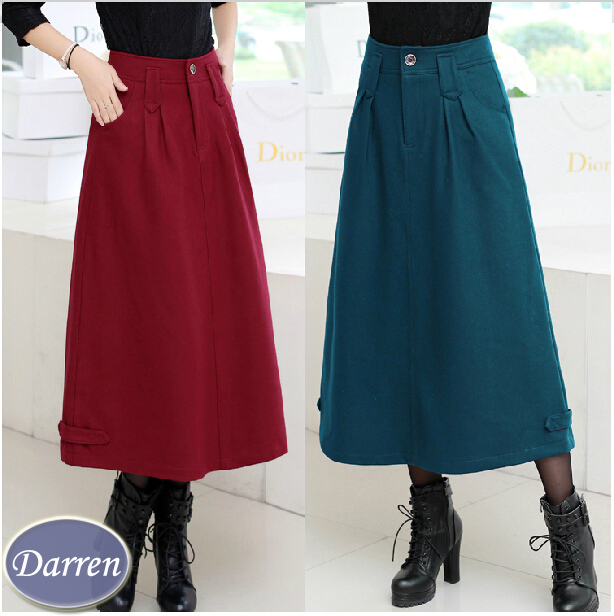 2015 Winter Long Skirt Female Fashion Thick Fabric Ankle ...