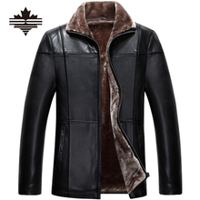 2017 Men's Winter Jackets Thicken Pu & Leather Jacket Men Fur Jackets and Coat Warm Wool Liner Overcoat Solid Faux Leather(China (Mainland))