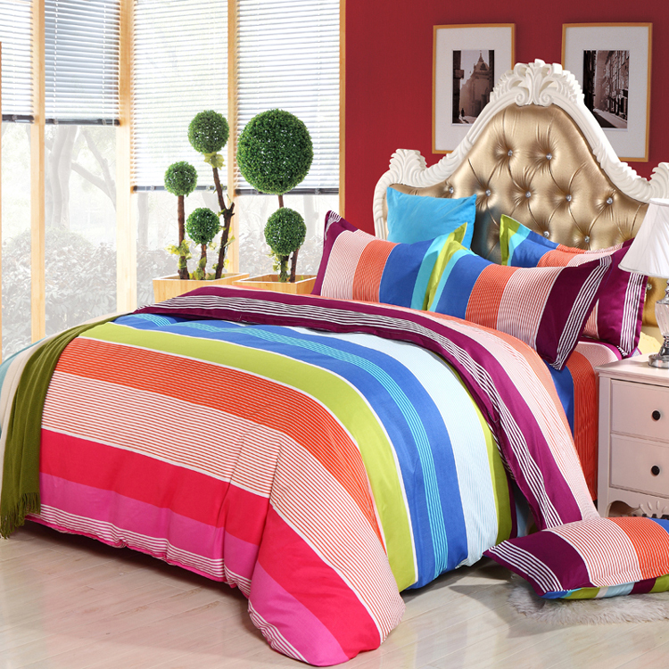 2015 Modern Rainbow Striped Bedding Set Microfiber Duvet Cover Bed Sheet Pillowcase New Bed Sets Twin Full Queen King ROMORUS(China (Mainland))