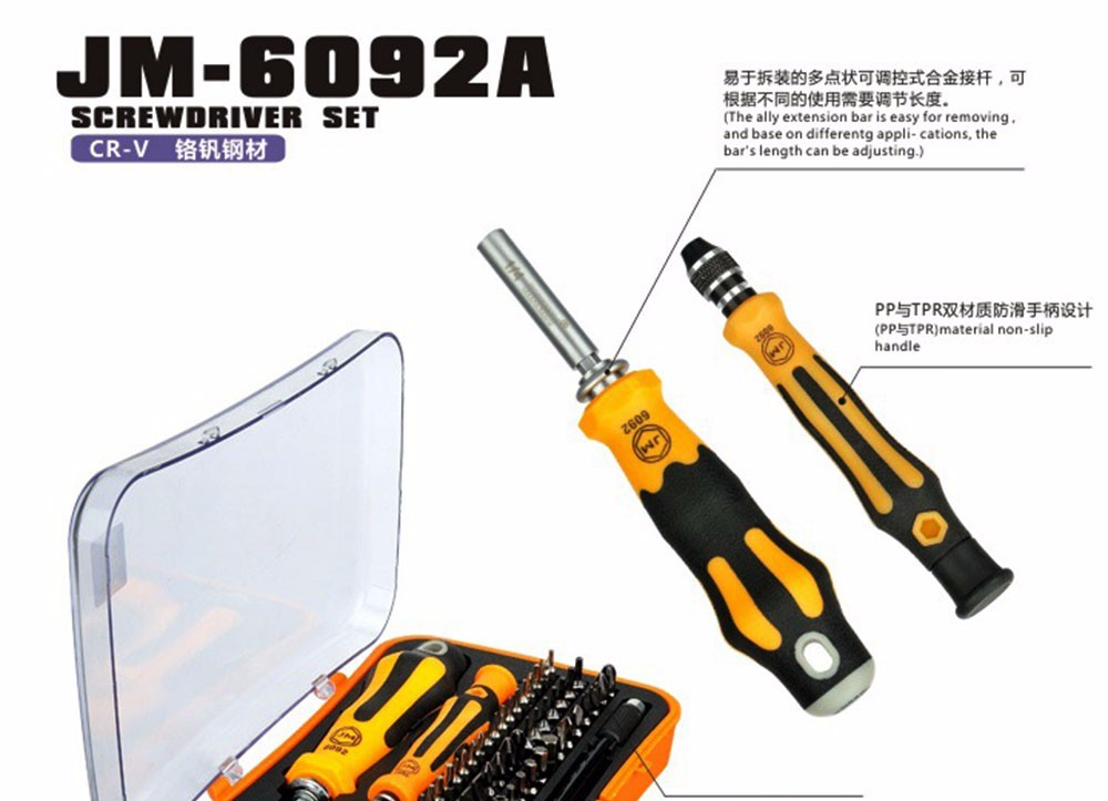 Multitool 57 in 1 screwdriver bits JM-6092A Electric screw driver set mobile phone repair tool for iphone ipad samsung PC MP4