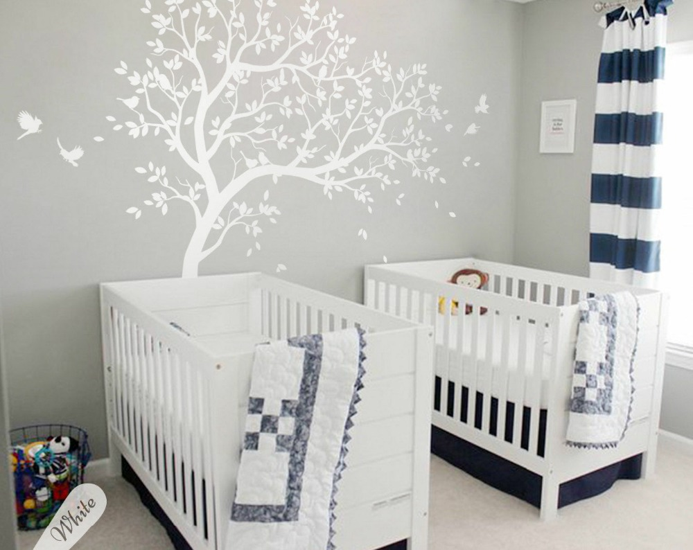 nursery wall decoration white tree wall decals birds wall