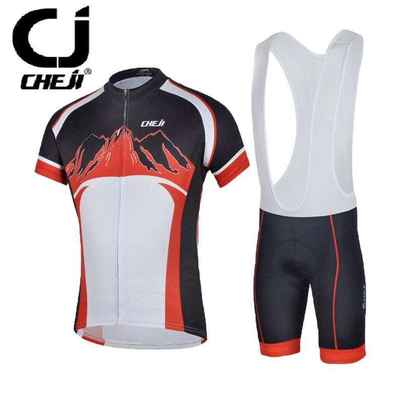 2016 CHEJI Red Bike Team short sleeve Jerseys Sets cycling bicycle (bib) shorts t-shirts / jacket cycle clothing 3D Gel padded  от Aliexpress INT