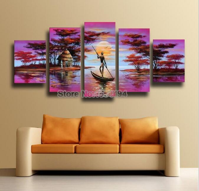 Excellente qualit coucher du soleil africain peintures achetez des lots petit prix coucher for Peinture chambre style africain
