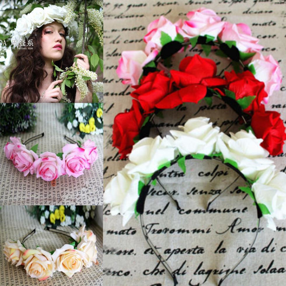 Hot Selling Rose Floral Flower Garland Crown Headband Hair Band Bridal Festival Holiday(China (Mainland))