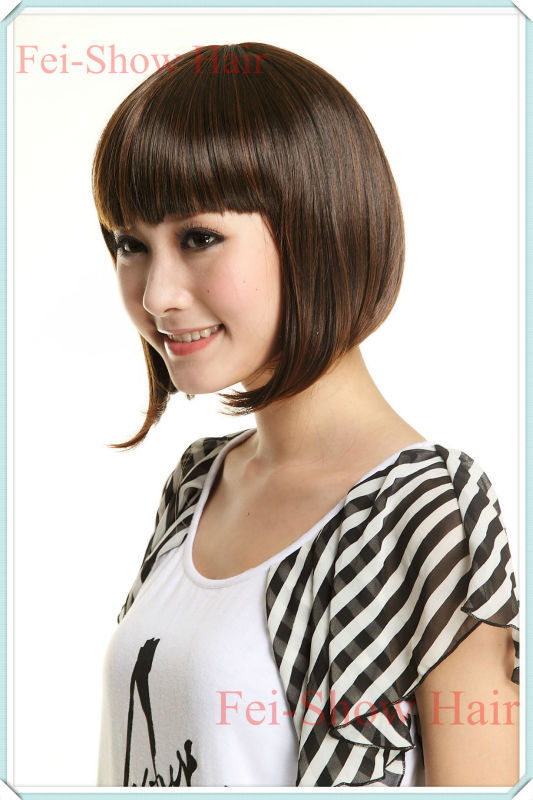 Hot Recommended Synthetic Heat Resistant Fiber Short Wavy Full Bangs Wig Fashion Lady Girls Bobo Wigs/Perruca<br><br>Aliexpress