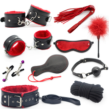 Buy 10pcs/set Adult Games sex toy soft Leather sexy toys Sex Toys Couples Slave bondage handcuffs nipple clamps whip gag paddle for $24.54 in AliExpress store