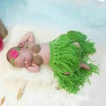 Infant Summer Green Sets Cute Newborn Girls Boys Knit Crochet Grass Skirt Hat Photo Prop Outfits(China (Mainland))