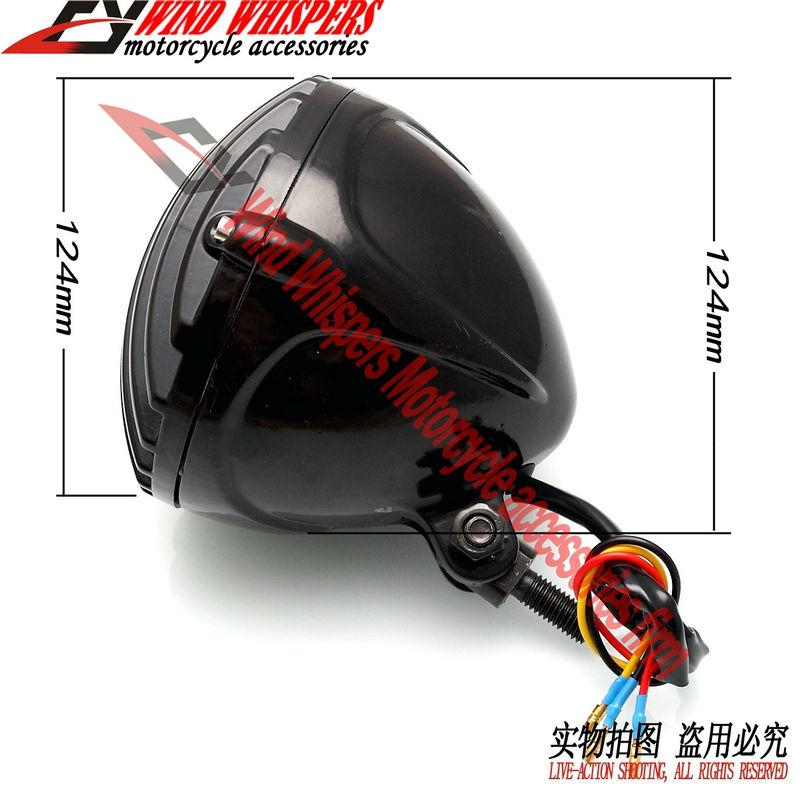 Gratis verzending Cruise modificatie Zwart metalen chopper bobber Koplamp met Grill Cover Harley Sportster XL883 1200X48(China (Mainland))