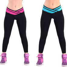 57044 womens exercise leggings fitness pants sports leggings exercise training pants very spandex size fast free shipping