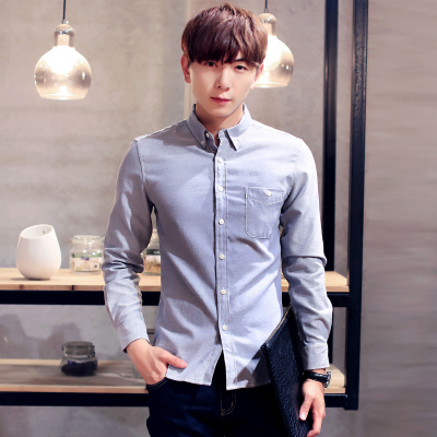 The 2015 men's casual shirt color pure Korean cultivating Oxford textile business men's shirt size(China (Mainland))