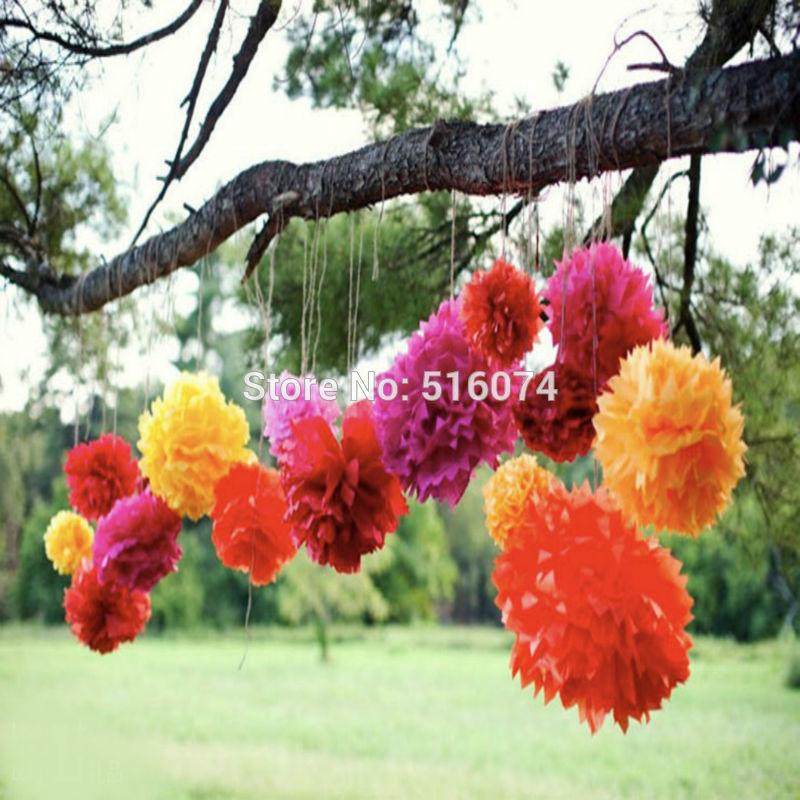 "2016 popular 30pcs 6"" 8"" 10"" (15cm 20cm 25cm ) Birthday party Decor Paper flower ball Wedding Party scene Paper pom poms(China (Mainland))"