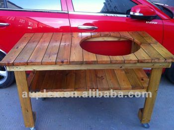 BBQ stand wooden table for the 21''inch kamado grills//charcoal bbq grills