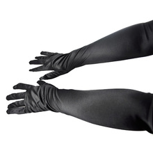 "Good Deal ! 23"" Long Sexy Elegant Ladies Black Satin Evening Gloves Lingerie Fancy Dress Gift(China (Mainland))"