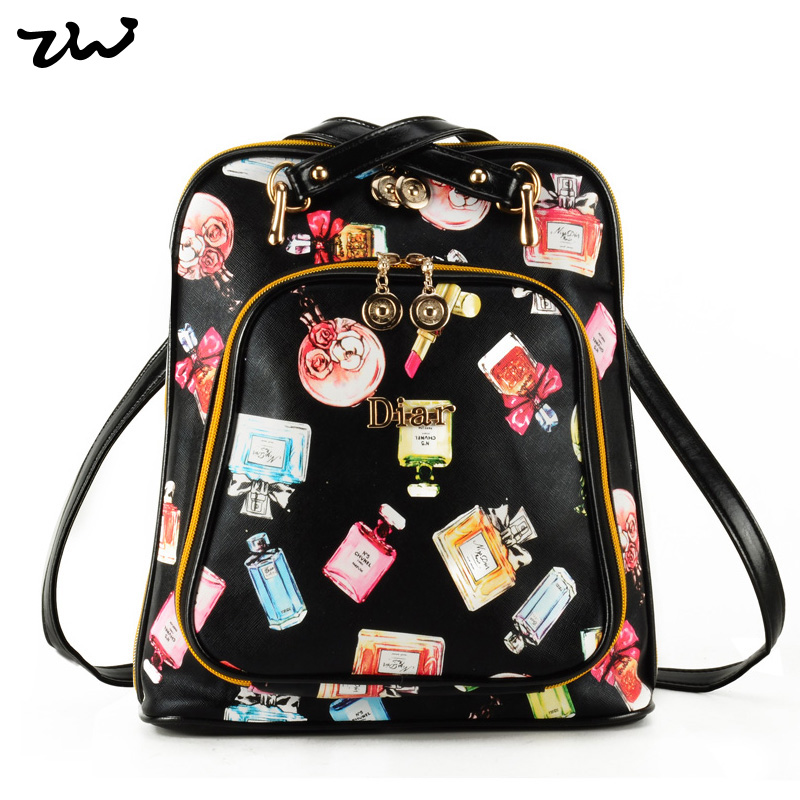 ZIWI Fashion Sexy Perfume Print Women Backpack 2016 New Arrival Lovely Rushcack PU Leather Printing Backpacks BB8801-B<br><br>Aliexpress