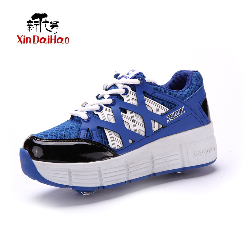 Double Wheel Roller Skate Shoes for Boys Girls Pulley chaussure nmd Children's yeezy shoes roller shoes sport for kids(China (Mainland))