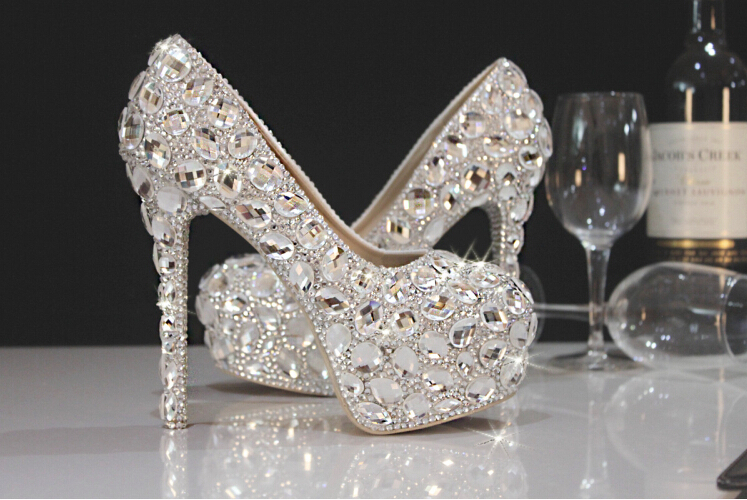 Women Pumps Party Dance Sexy White 11.5cm High-heeled Shoes Crystal Wedding Bridal Rhinestone Shoes(China (Mainland))