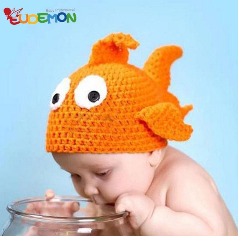 [Eudemon] Cute newborn hats baby costume goldfish fashion knitting disfraces high quality baby costume photography(China (Mainland))