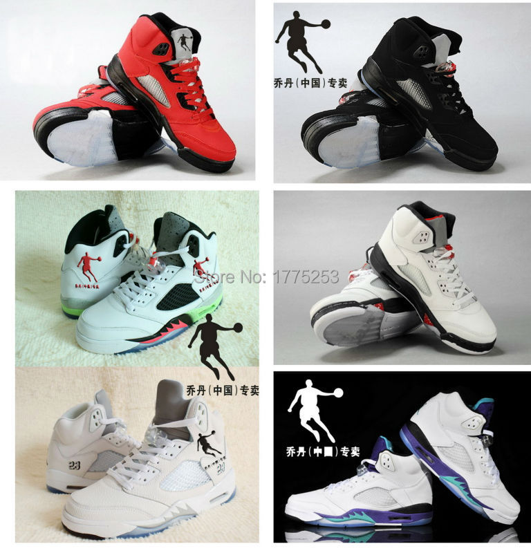 2015 New hot sale China Jordan 5 Men Basketball Shoes retro 5 venom and White Silver Original high quality shoes US size 8 - 13(China (Mainland))
