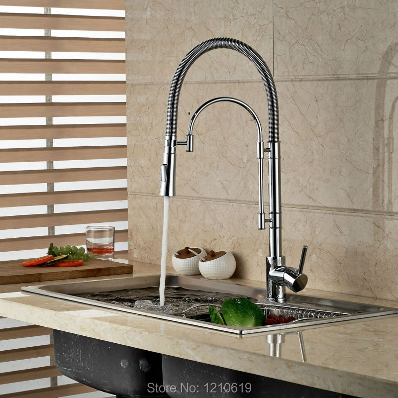 Newly Chrome Fashion Kitchen Sink Faucet Full Down Spout Basin Mixer Faucet Tap Single Hole