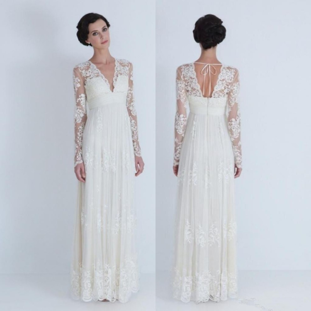 Vestido de noiva com manga vintage lace wedding dress long for Long sleeve plus size wedding dress