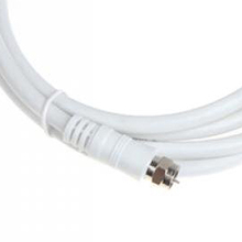 High Quality White 6.6ft 9.5mm 90 Degrees Male to F type Male Coaxial TV Satellite Antenna Cable