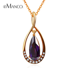 Purple crystal water drop pendants copper statement necklaces eManco 2016 brand new fashion women accessories Wholesale TX00296(China (Mainland))