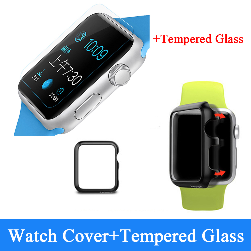Hot Sale Premium Plastic Protector for Apple Watch 38mm&42mm Armor Case Cover for Watch+Tempered Glass Screen Protector(China (Mainland))